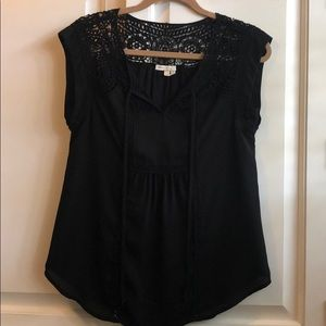 Black tunic top with embroidered detailing